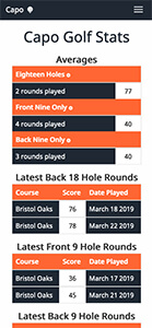 Notonelesson Golf Score Tracker view on an iPhone X